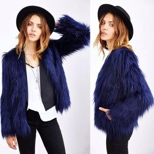 URBAN OUTFITTERS Navy Blue Faux Fur Coat